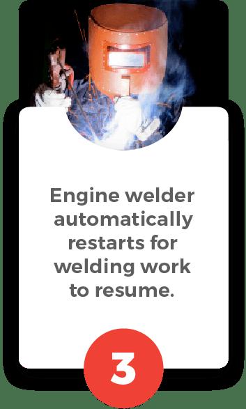 DLW-500ISW automatically restarts for welding work